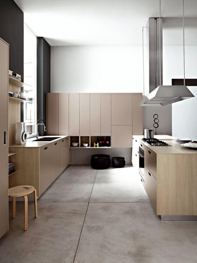 holzk che schlichte fronten edelstahl abzugshaube beton k chen pinterest einbauk che neue. Black Bedroom Furniture Sets. Home Design Ideas