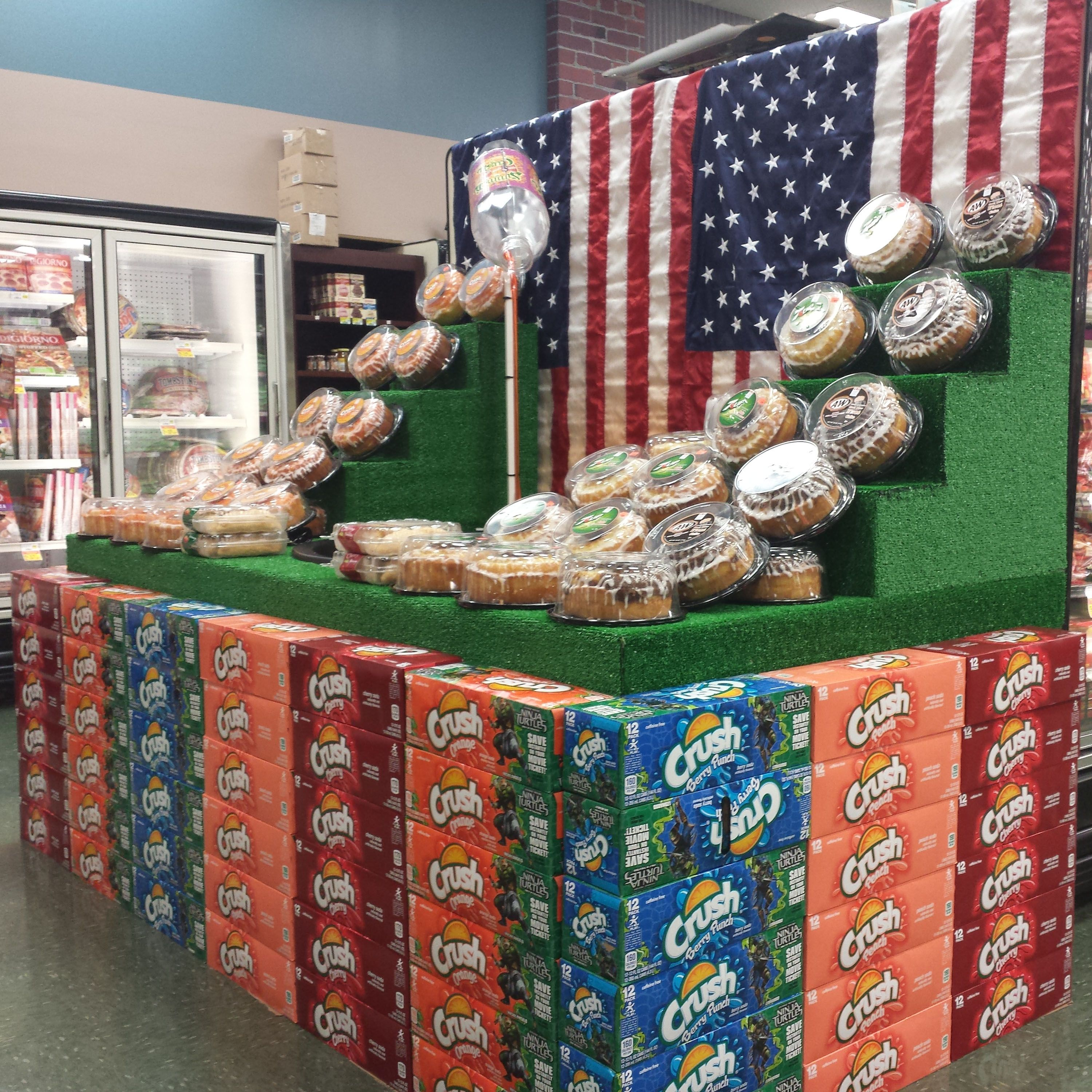 Check out this ALL AMERICAN Soda Spectacular from Piggly Wiggly (AWG #5391) District Manager Carl Whitaker and Store Manager Chris Cleveland. Drop by and see it for yourself at 1010 E. Third Street in Jackson, Georgia. GREAT JOB TEAM! Love the Patriotic Flag!