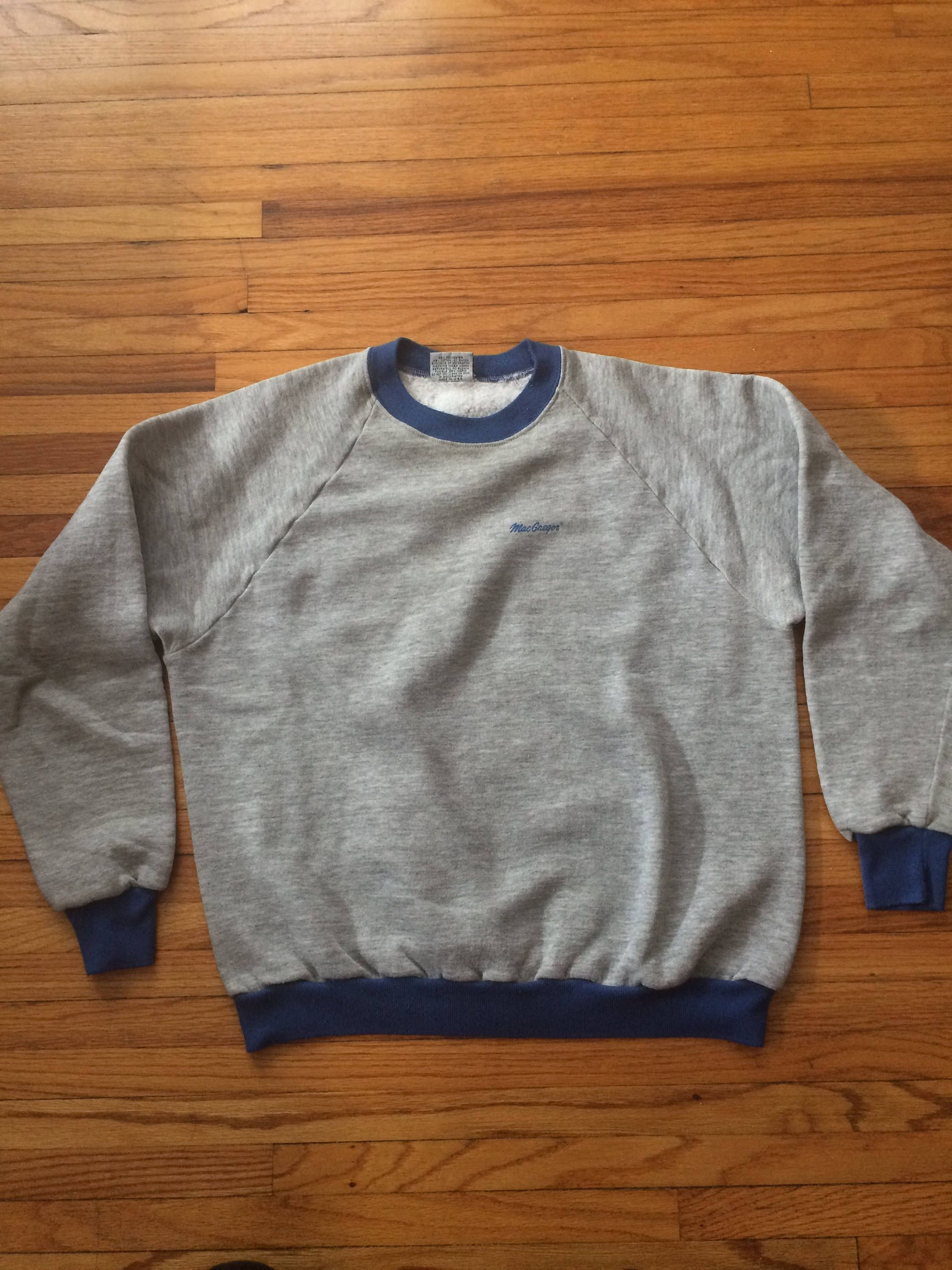 50afa6a95b Vintage MacGregor Ringer Style Soft Gray and Blue Crew Neck Style Sweatshirt  by VintageVanShop on Etsy