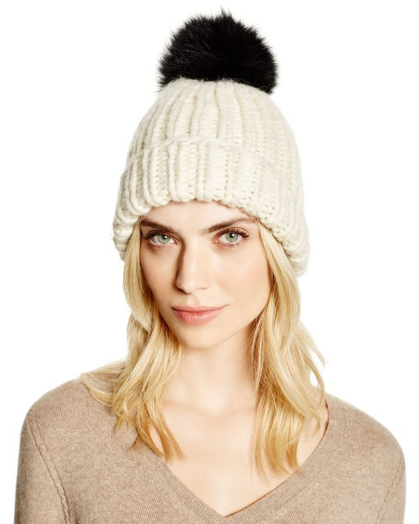 c25cd0512fb Eugenia Kim Rain Slouchy Beanie with Fox Fur Pom-Pom