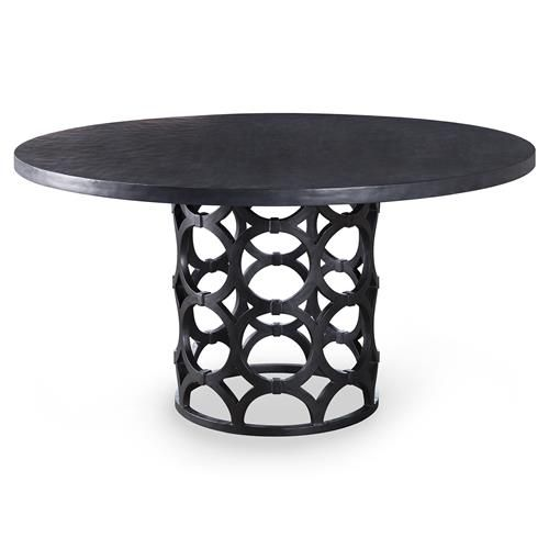 Mackay Modern Graphite Gesso Ring Pedestal Dining Table - 48D | Kathy Kuo Home