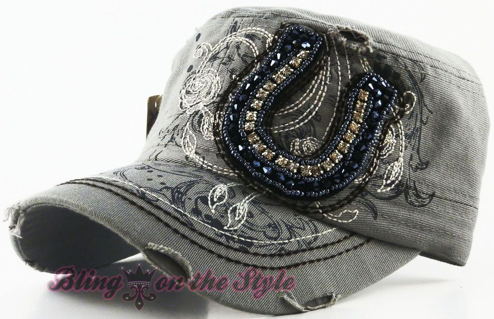 WOMEN/'S RHINESTONE FRONT-PRINTED,BACK-MESH CAP AND HAT LOVE
