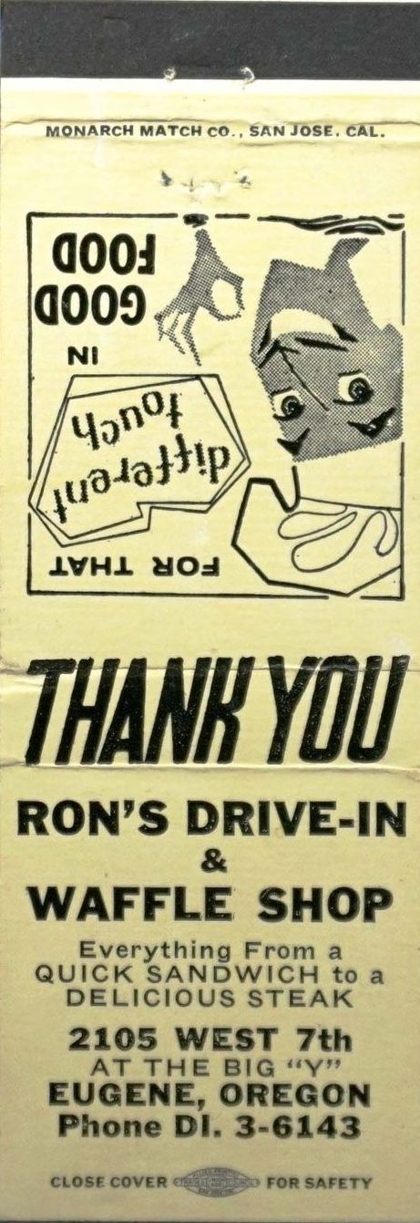 Ron S Drive In Eugene Or Waffle Shop Matchbook Quick Sandwiches