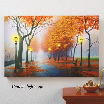 Autumn In The Park Led Lighted Canvas Wall Art From Collections Etc Autumn Landscape Wall Canvas Lighted Canvas