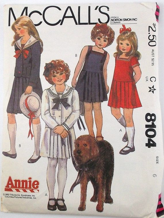 Vintage Pattern Annie McCalls 8104 Pattern | Girls Vintage Patterns ...