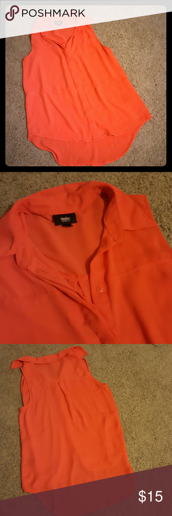 Bright Collared Tank Mossimo long, bright orange tank top with button-down front. Buttons are hidden. Back of shirt longer than the front. 100% Polyester Mossimo Supply Co. Tops Blouses