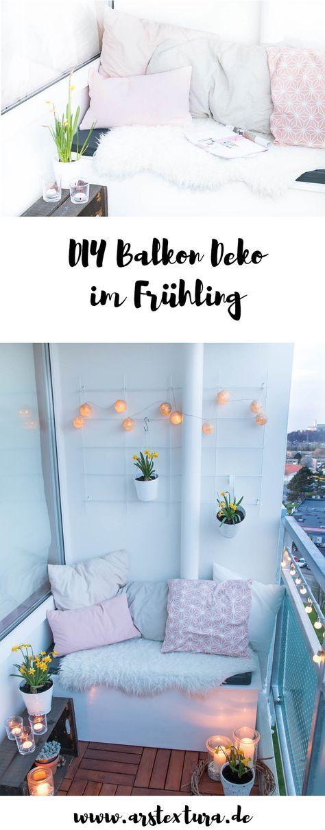 Fruhling Auf Dem Balkon Mit Fruhlingsblumen Und Diy Windlichtern