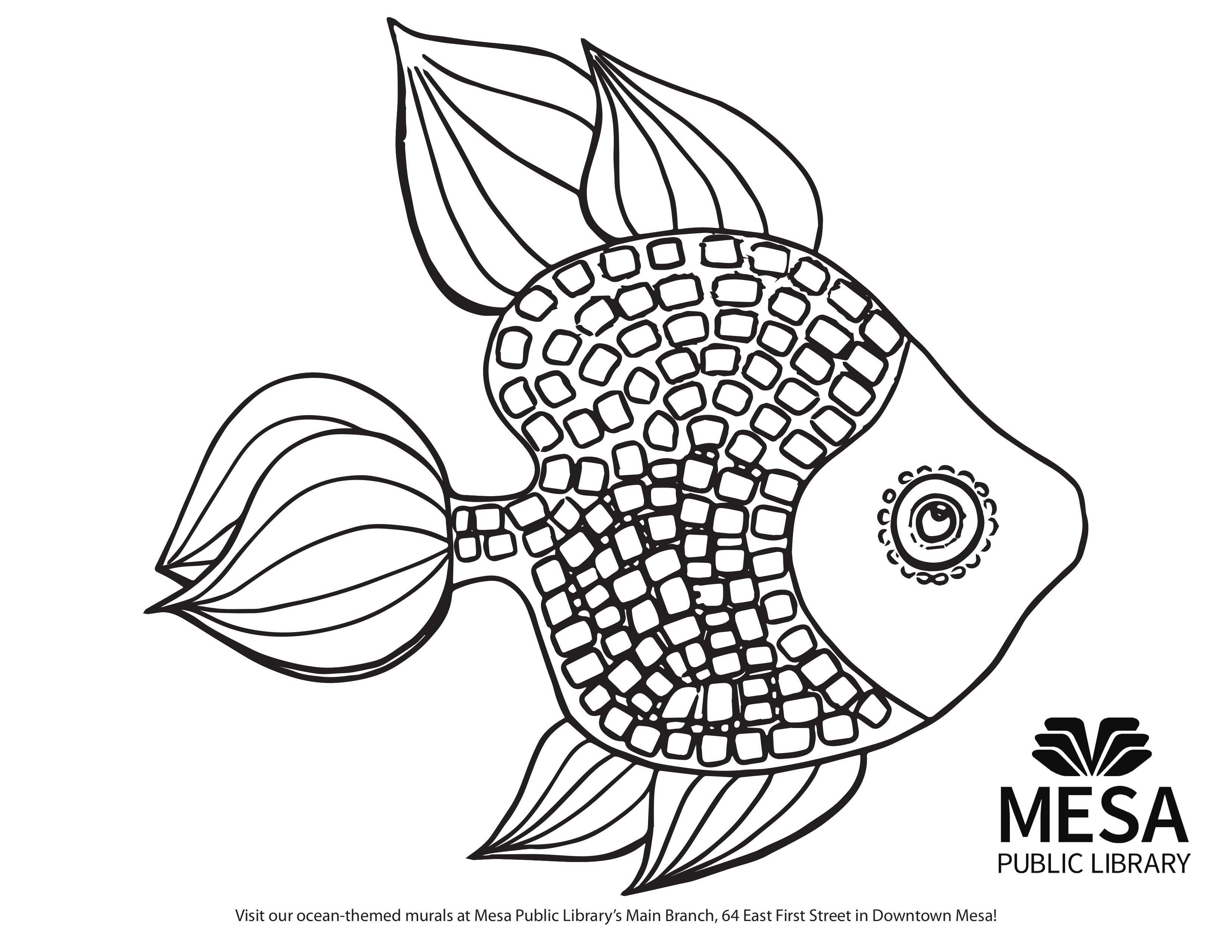 Coloring childrens room - Colorful Fish Ocean Themed Printable Coloring Sheet Based On The Murals In The Children S Room