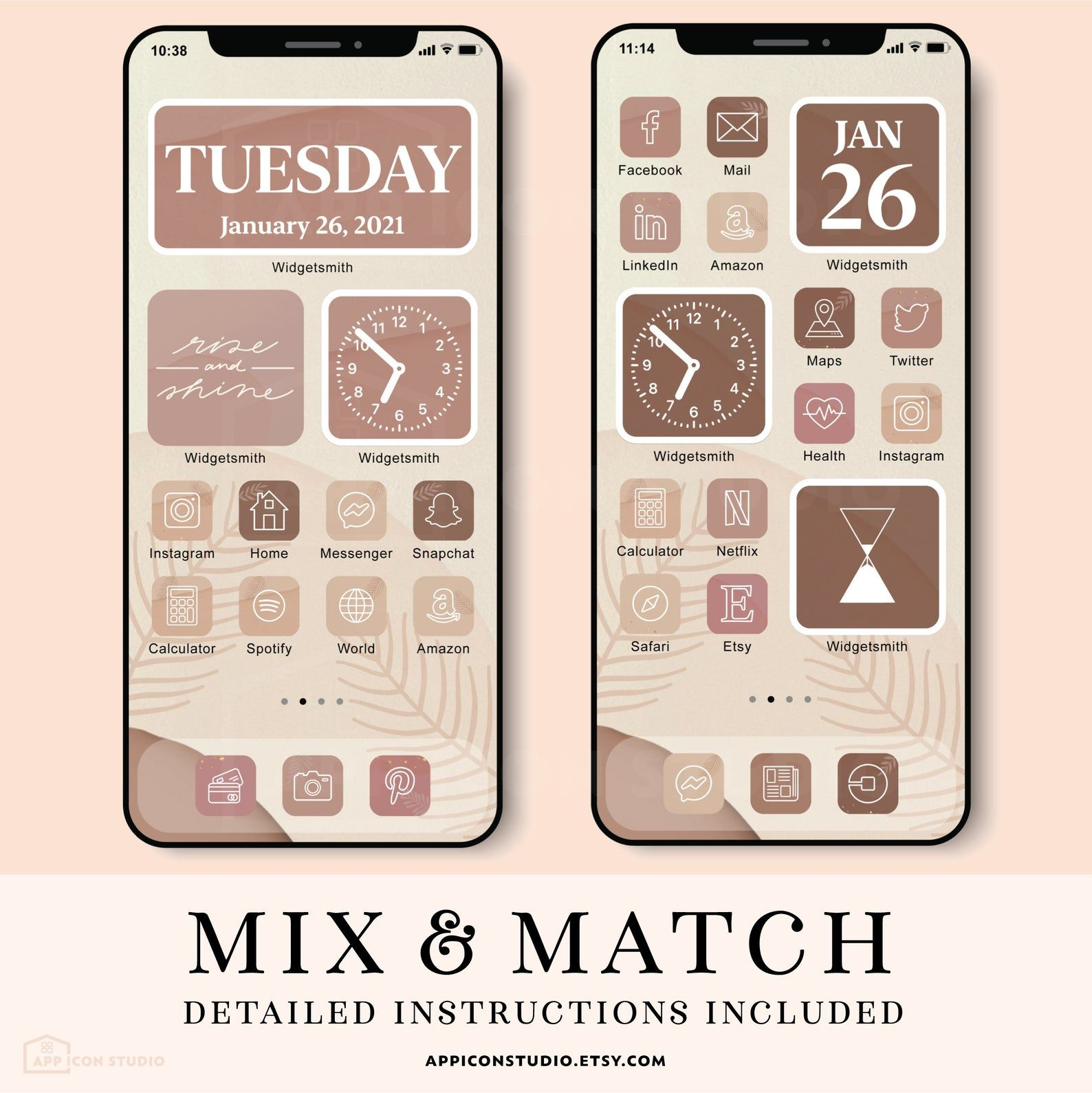 Give a personal touch to your iphone home screen! iOS 14 Icons Neutral Rose Brown App Icons iPhone iOS App ...