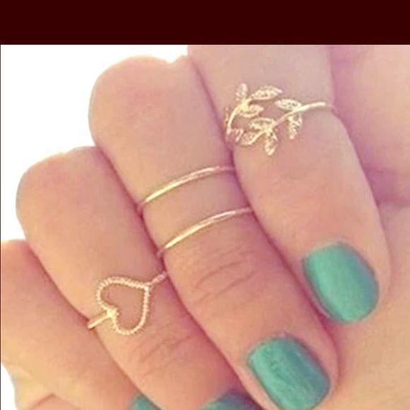 4pc Set Midi Ring Set Fashion Rings Cute Rings Nail Ring