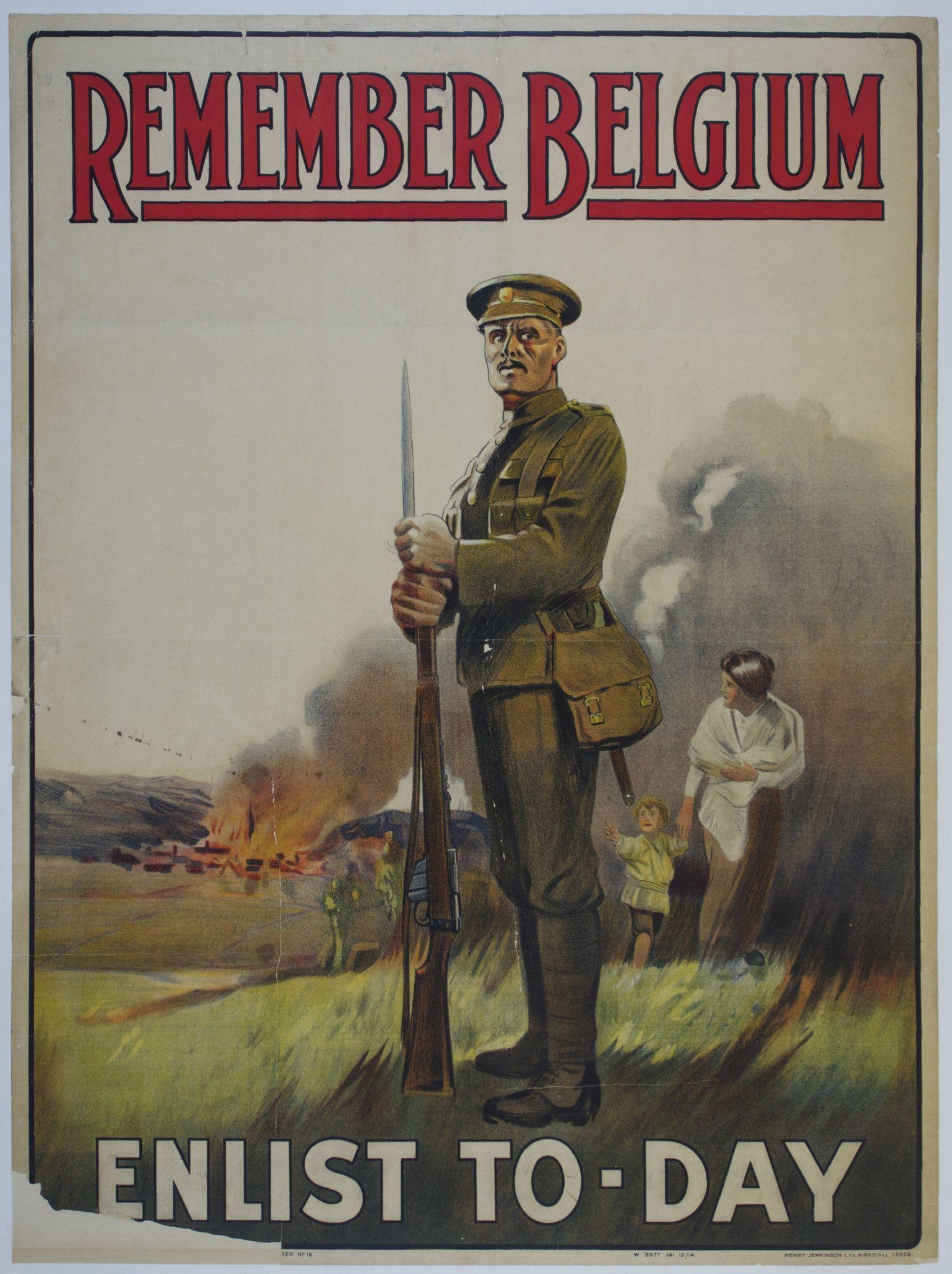 Remember Belgium  United Kingdom c 1915 30 x 40 in 75 x 100 cm 700