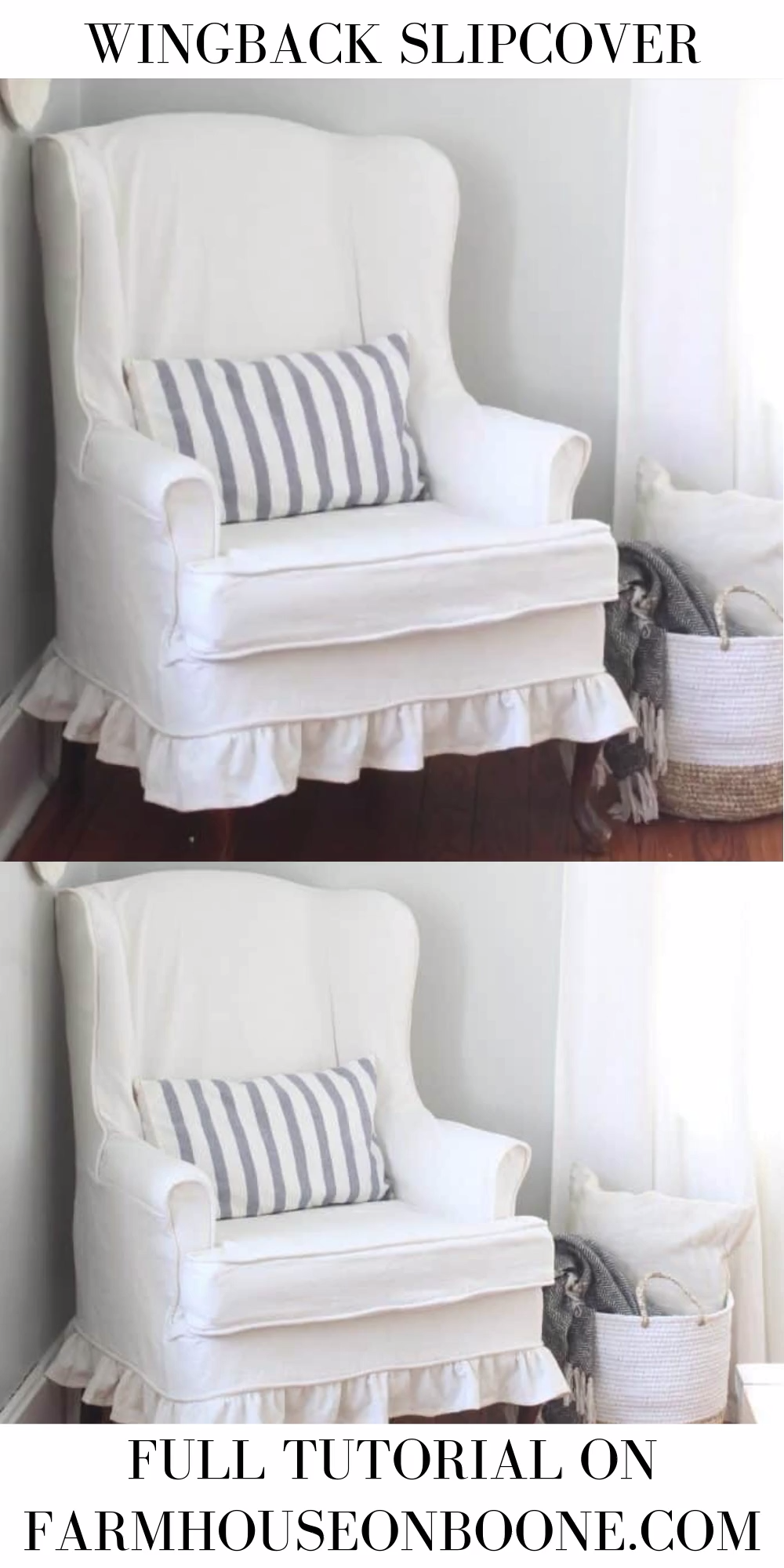 Learn how to slipcover a wingback chair with painter's drop cloth. I have included a video documenting the whole slipcovering process, lots of instructions and my tips for an excellent fit.