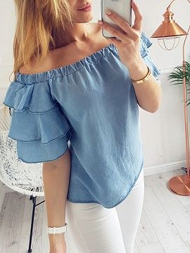 Sky Blue Off Shoulder Layered Ruffle Sleeve Top