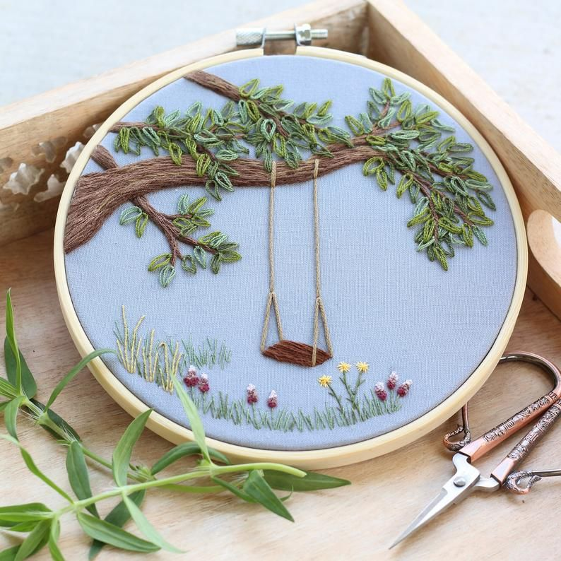 Blue trees hand embroidery art wall decor