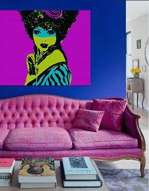 DECOR INTERIORS ART Royal Blue Walls Pink Velvet Sofa And Funky Portrait Bod