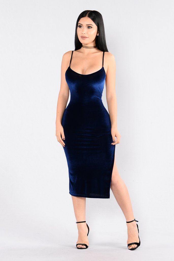 - Available in Blue - Velvet Dress - Spaghetti Straps - V Neckline - Midi Length - Side Slit - Made in USA - 90% Polyester 10% Spandex