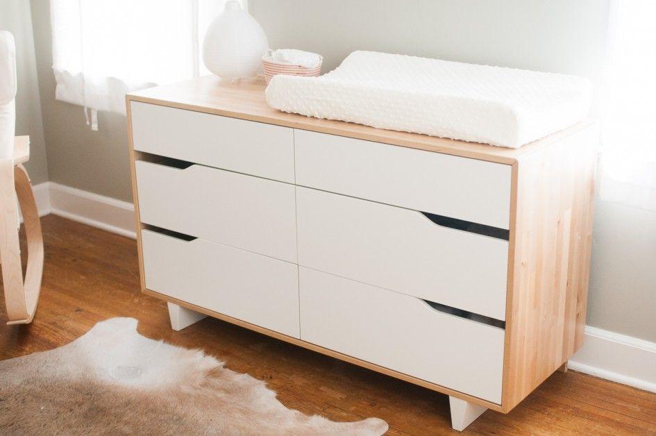 Baby Nursery Colins Drawer Dresser Oak High Gloss Double