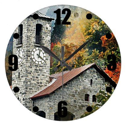 European Castle Large Clock - autumn gifts templates diy customize - clock templates