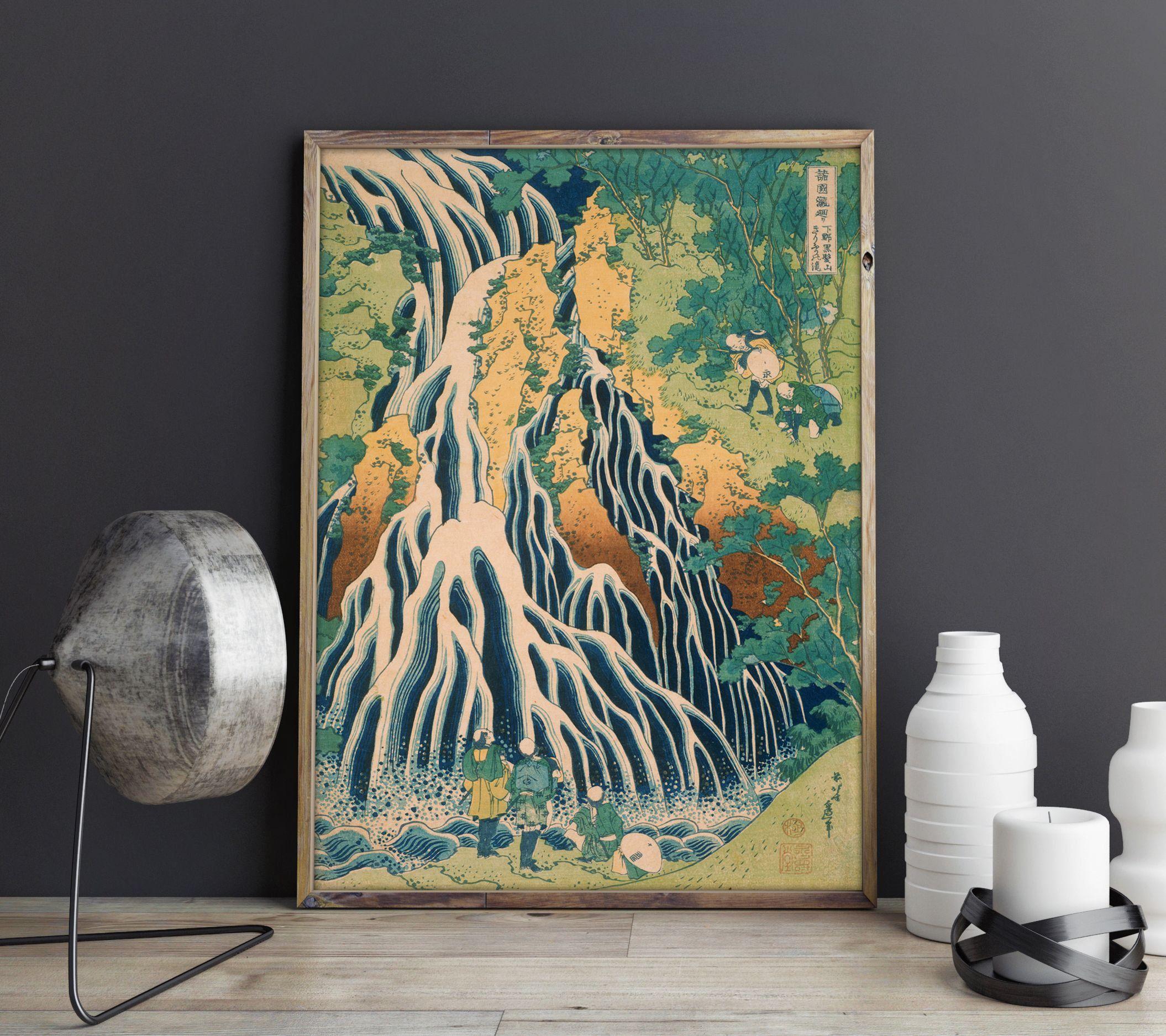 Hiroshige Waterfall Japanese Woodblock Poster Print Vintage Etsy Japanese Wall Art Japanese Wall Decor Japan Wall Art