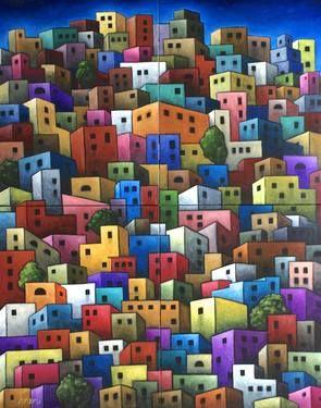 "Saatchi Art Artist Antonio Ramirez; Painting, ""Casitas"" #art, Mexican Art, Folk, Guanajuato, little colorful houses"