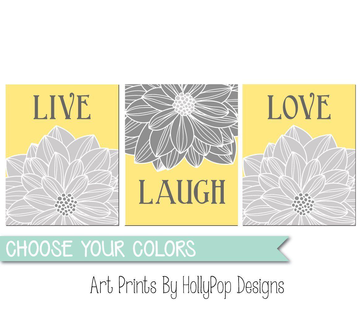 Live laugh love yellow gray kitchen wall art home decor art