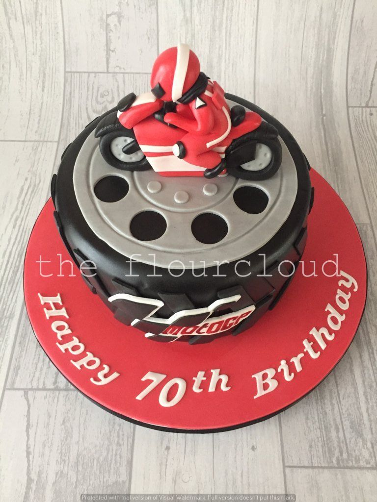 Moto GP themed birthday cake Handmade motorbike model baking and