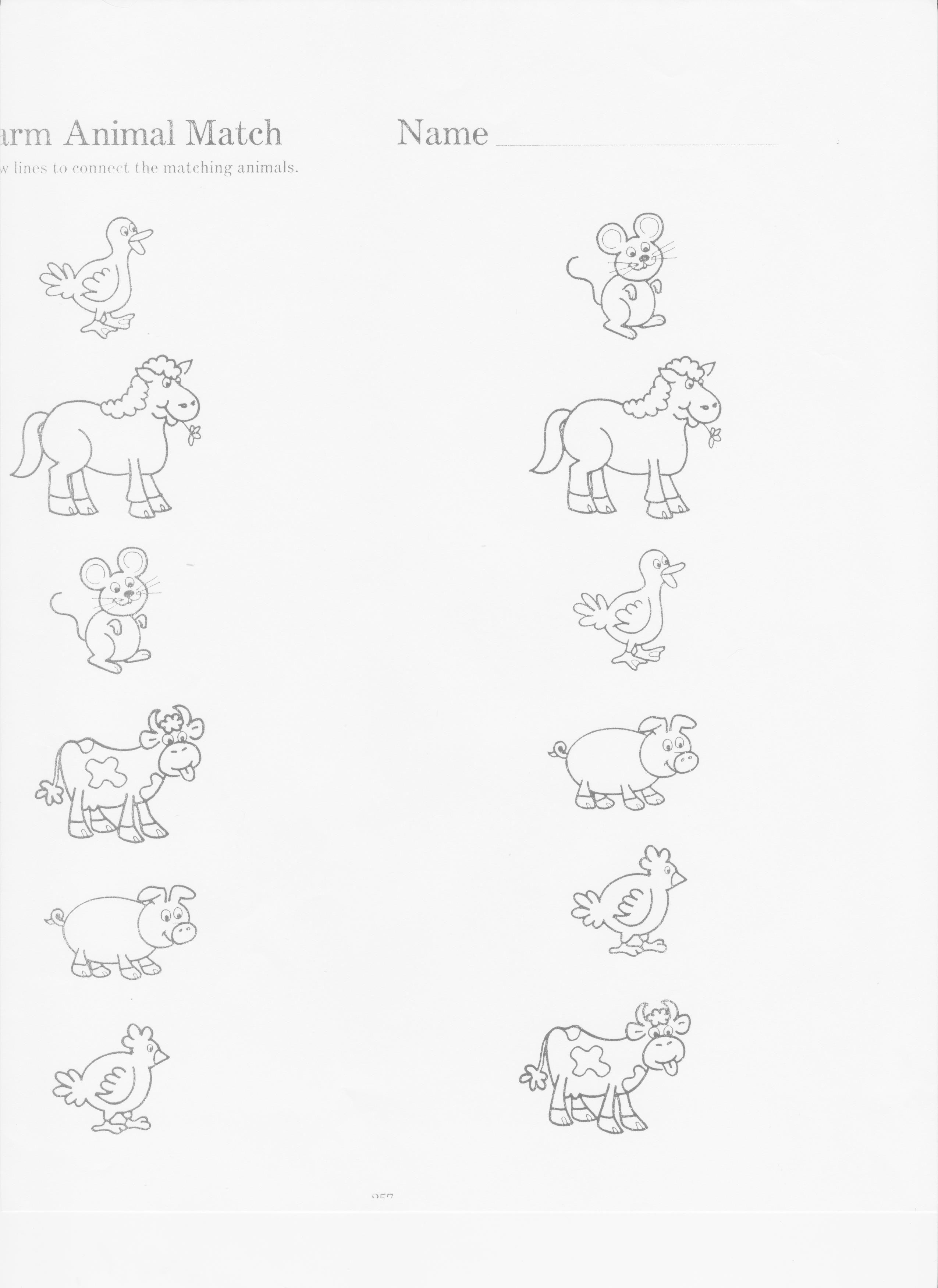Farm Animal Matching Sheet