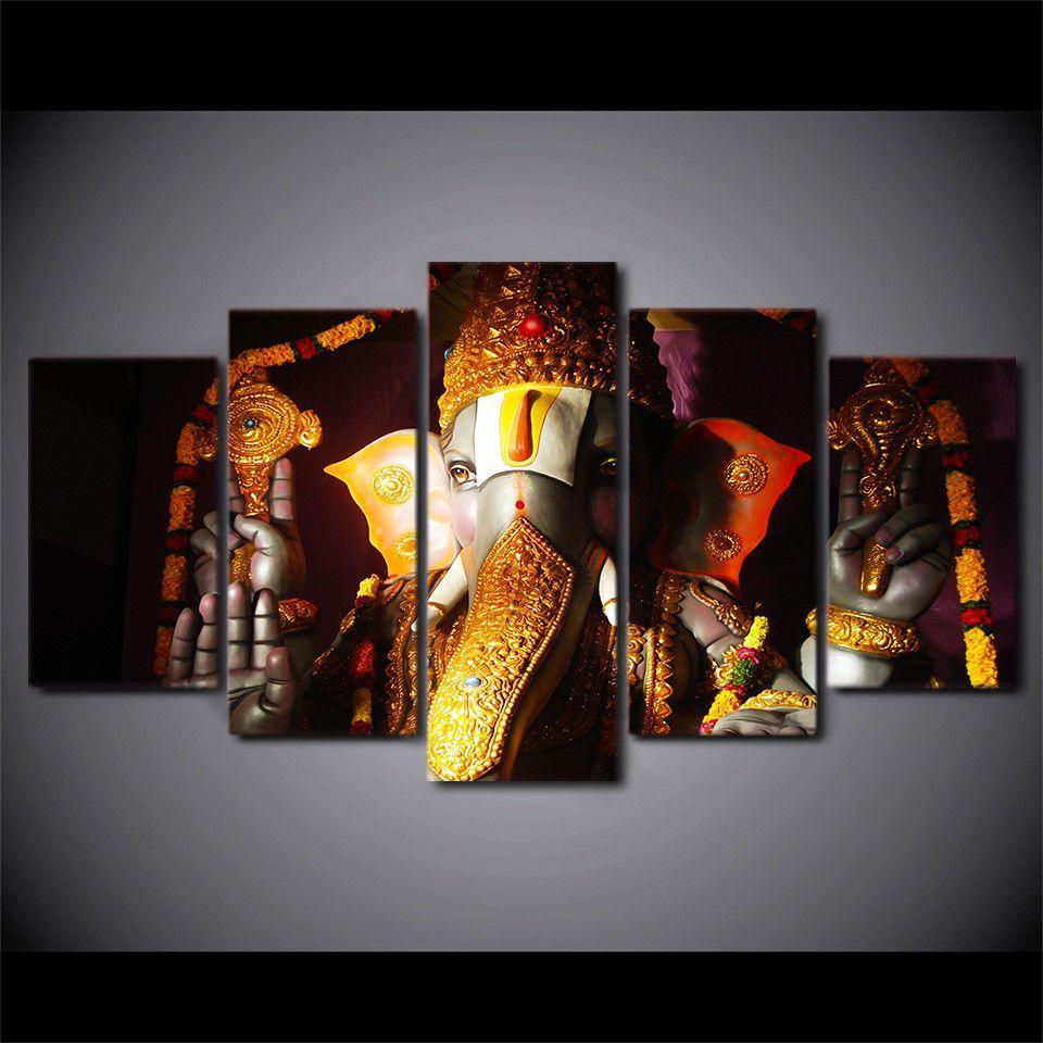 Hindu God Ganesha head Elephant 5pcs Painting Printed Canvas Wall ...