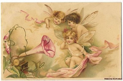 CYLINDER PHONOGRAPH GRAMOPHONE Fantasy Postcard with 3 BABY FAIRIES ca1902
