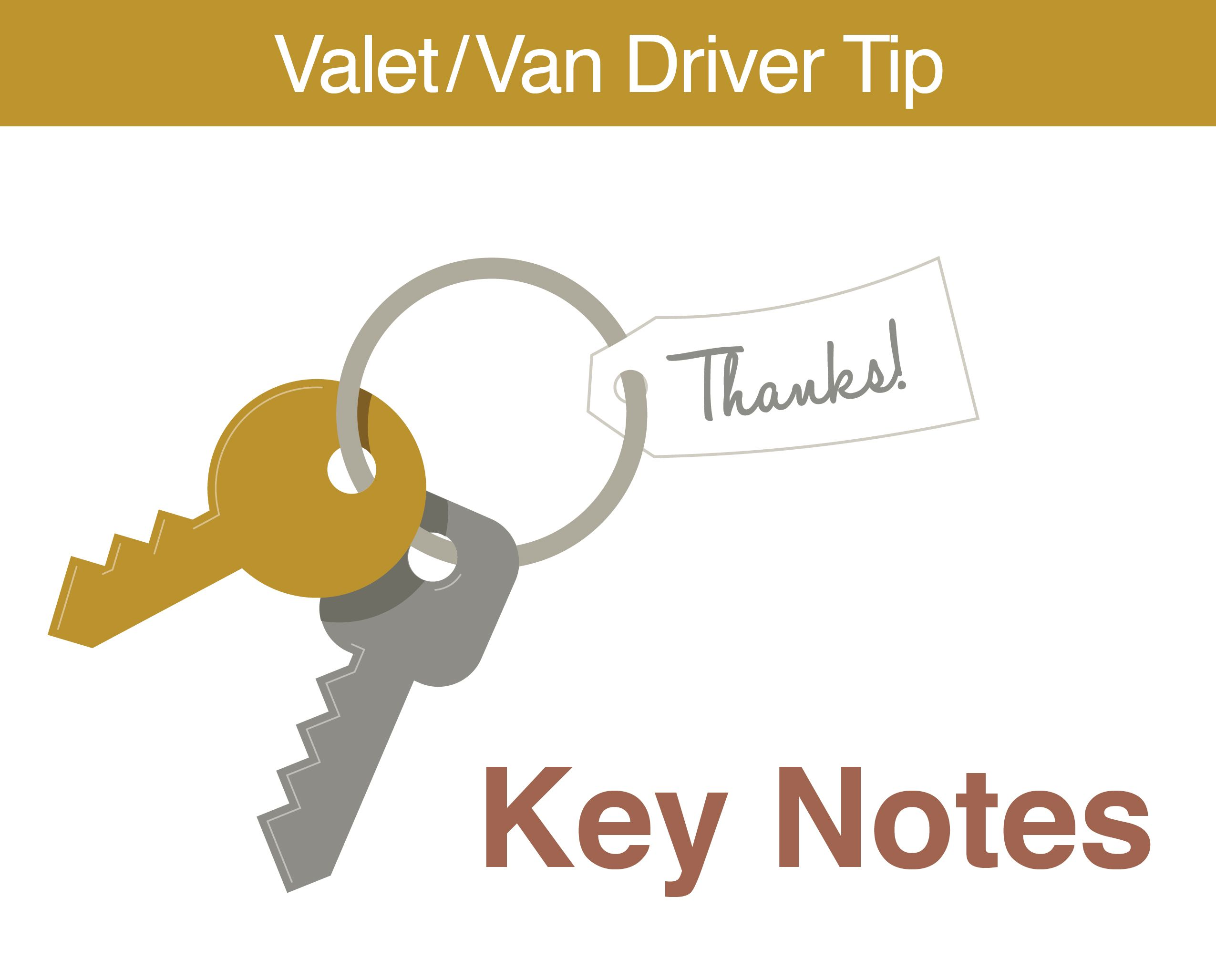 Leave Thank You Notes For Your Valet Team Members In The Key