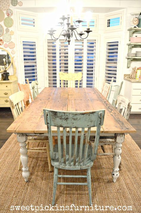 my new farm style table w mismatched chairs decorations rh pinterest com