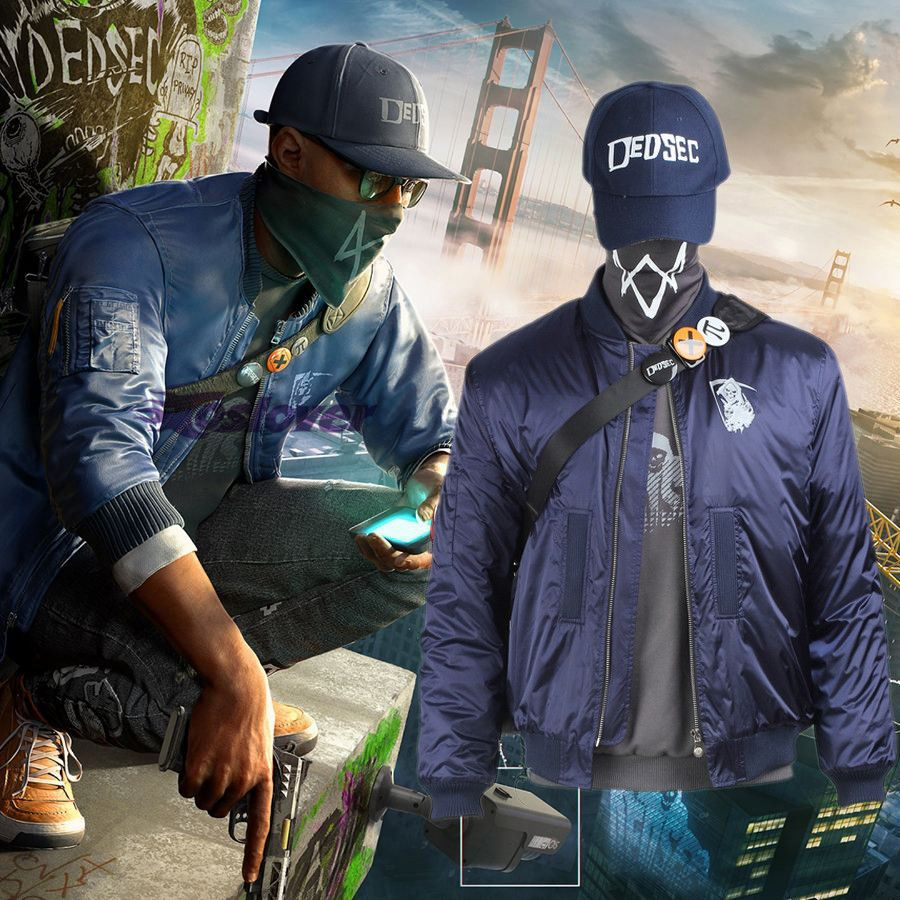 >> Click to Buy << Watch Dogs 2 Costume Marcus Holloway Jacket Cosplay  Adult Blue Coat Men's Outwear Casual Suit  Game  Mask Cap Outfit Clothes #Affiliate