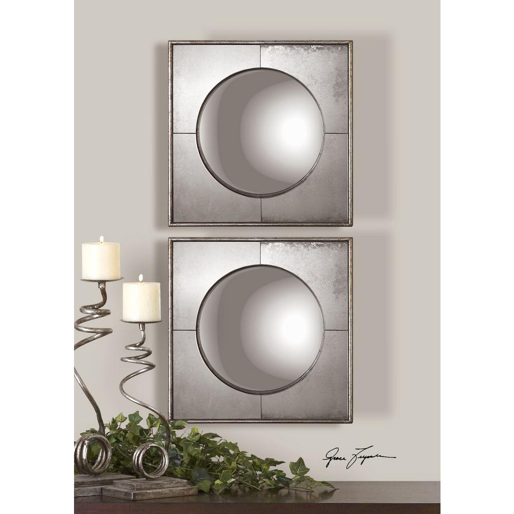 15.75 in. x 15.75 in. Convex Silver Framed Mirrors (Set of 2 ...