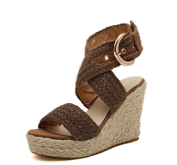 Pointed Toe Ankle Strap Buckle Womens Sandals Wedges