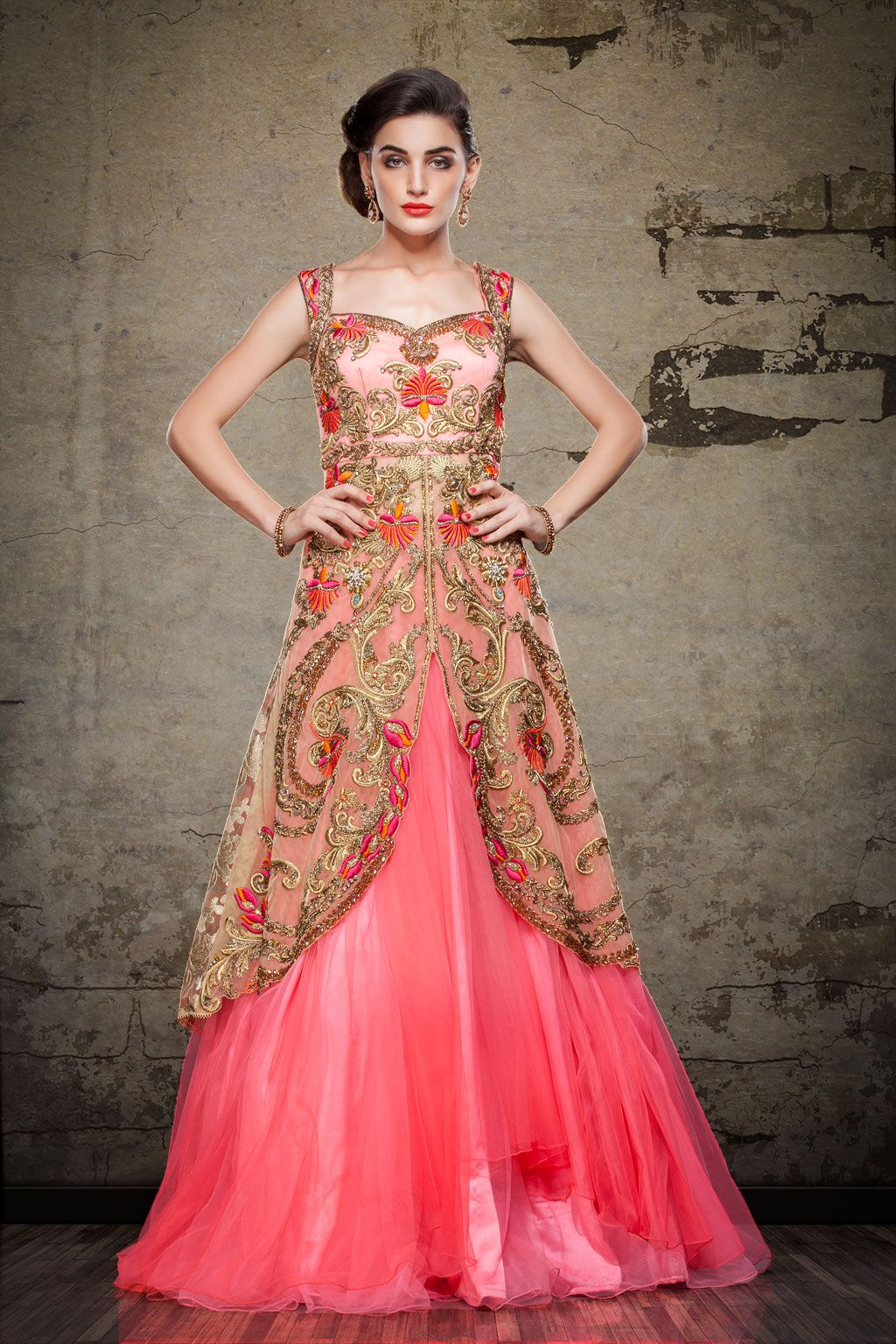 e479df78fc Pink Net Designer Readymade Gown 63162 in 2019