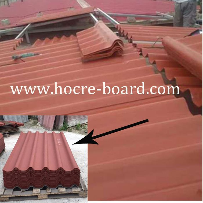 Red Color Fiber Cement Roof Tile Size 3050mmx920mmx6mm