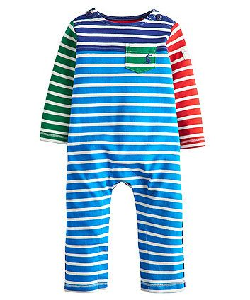 MOTHERCARE BABY BOYS BLUE STRIPED FOOTLESS SLEEPSUIT ROMPER ALL IN ONE PLAYSUIT