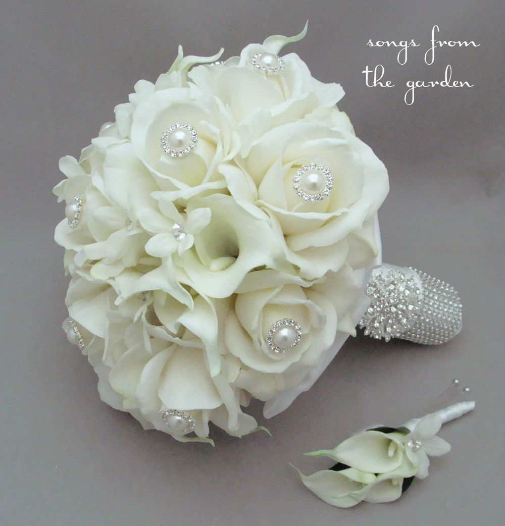 Silk flower bridal bouquet silk stephanotis by songsfromthegarden items similar to silk flower bridal bouquet silk stephanotis real touch roses real touch calla lilies grooms boutonniere pearl rhinestone accents brooch on mightylinksfo
