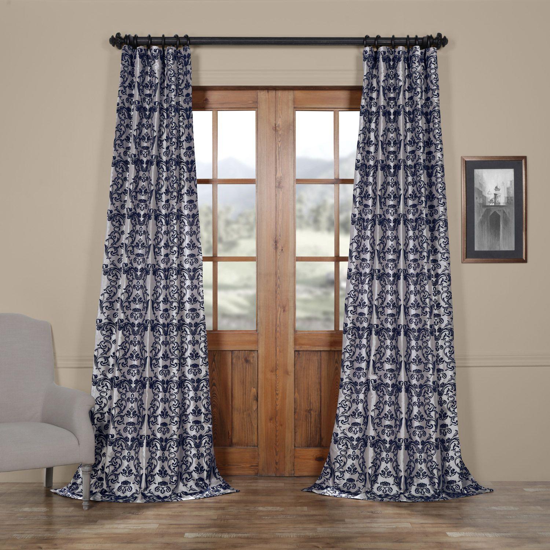 Firenze Grey Blue Designer Flocked Curtain Faux Silk Curtains Half Price Drapes Rod Pocket Curtains