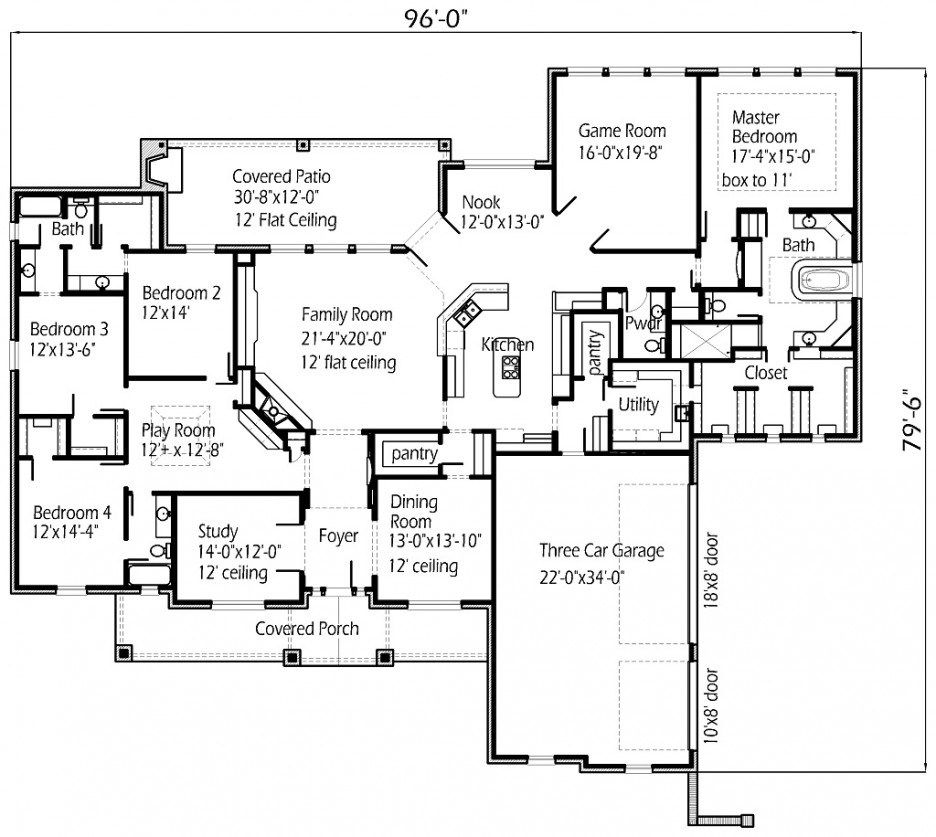 Floor Plan Decoration Large Spaces Room Combined Modern Touch Large Story House Plan Big Kitchen Walk Pantry Screened House Floor Plans House Plans Floor Plans