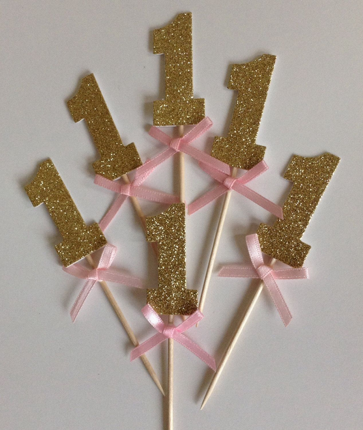 Gold Glitter Number One Cupcake Toppers with Pink Bow Gold 1st