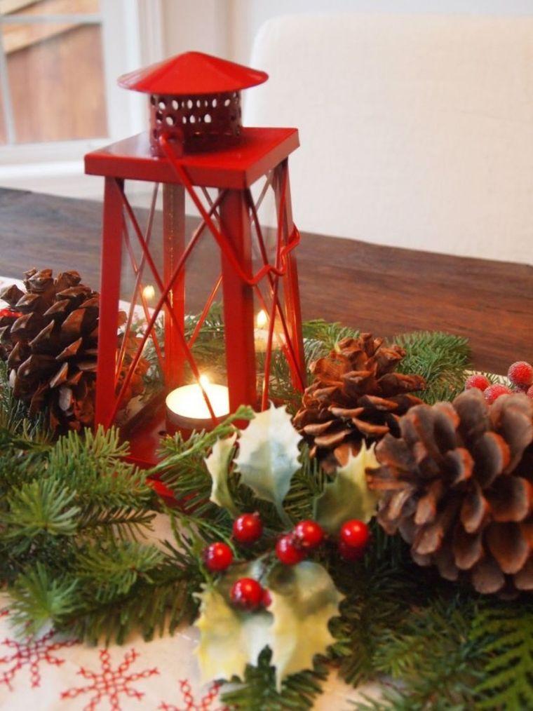 Centre De Table Pour Noel Et Fabrication De Lanterne Avec Bougie Centre De Table Noel Decoration Table De Noel Table De Noel