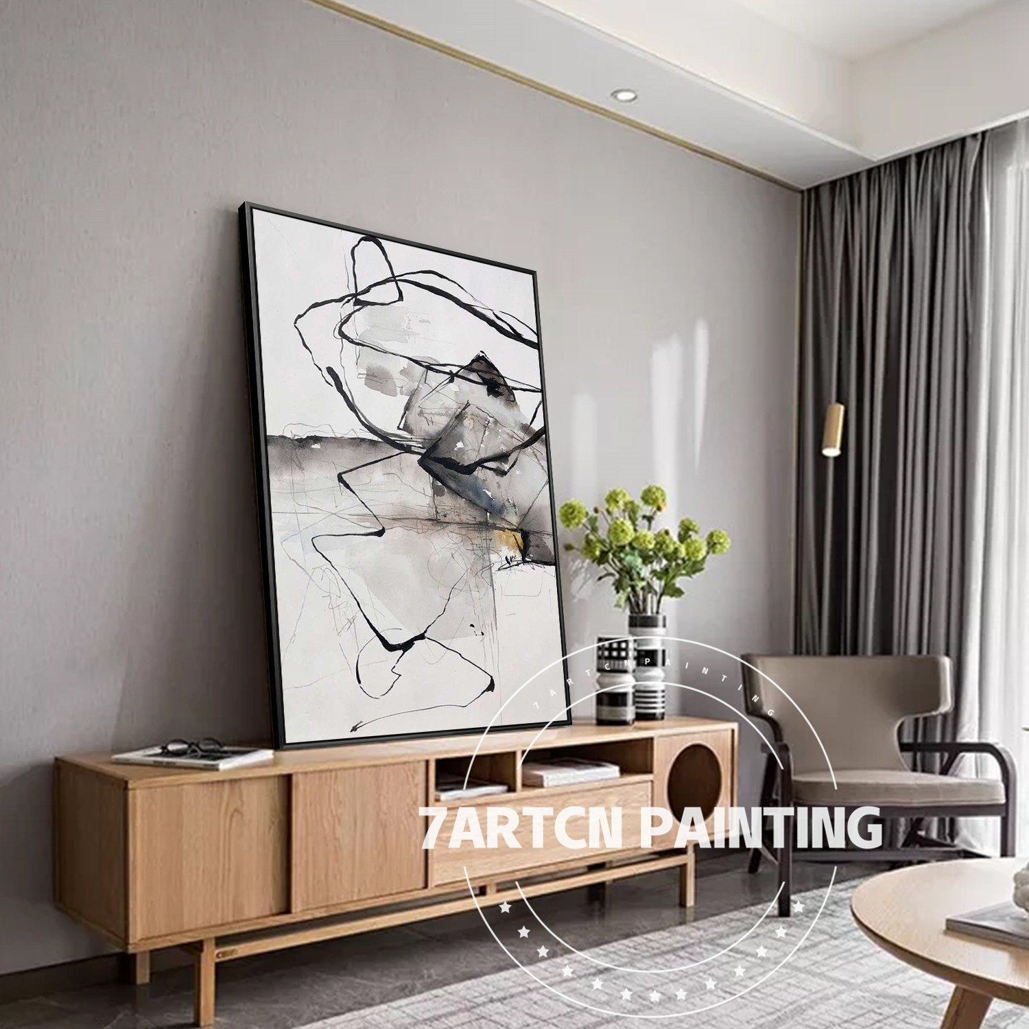 canvas acrylic painting modern abstract black white framed on modern acrylic paintings for living room id=36337