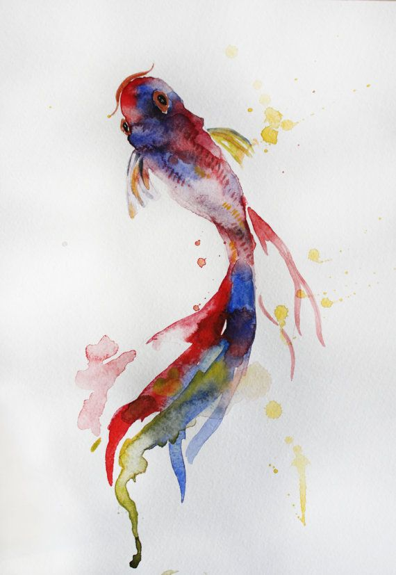 Original watercolor painting koi fish gold fish by for Japanese fish painting