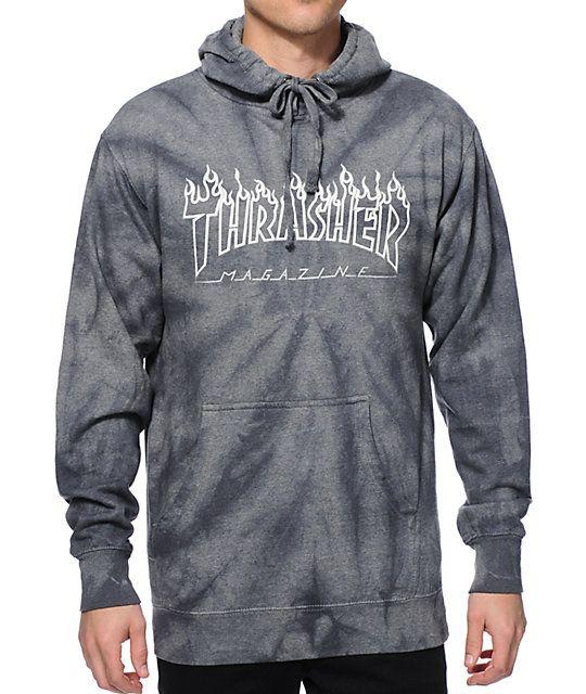 cd5727dd0d95c Thrasher Silver Flame Logo Tie Dye Hoodie