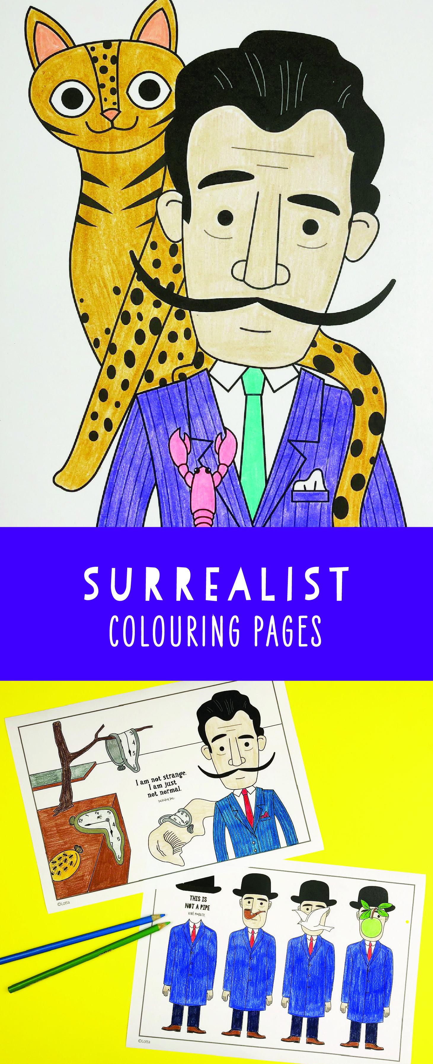 Famous Artist Coloring Pages 2 Monet Yayoi Dali Klimt
