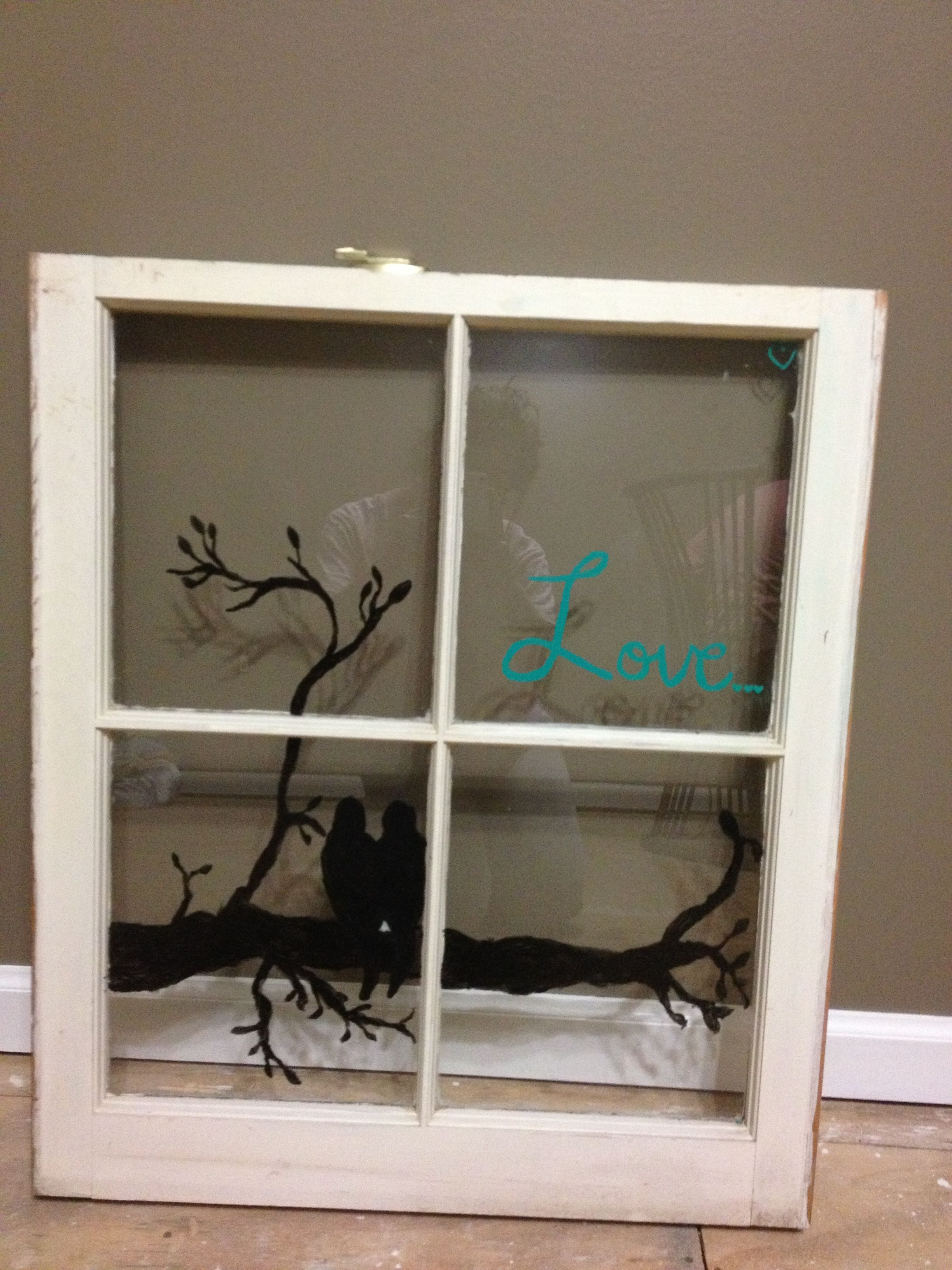 Window pane decor painted wood window  home decor  pinterest  wood windows window