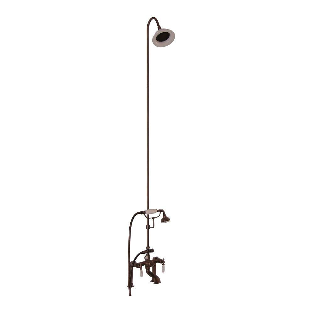 Barclay Products 3 Handle Claw Foot Tub Faucet With Riser Hand