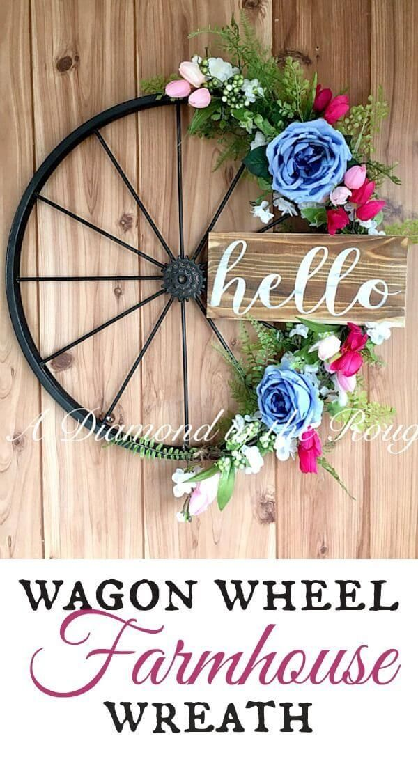 Photo of Wagon wheel wreath with flowers and a message