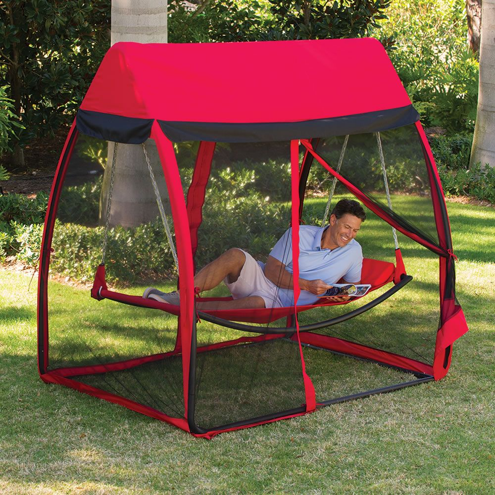 this is the hammock that shields you from pesky mosquitoes and